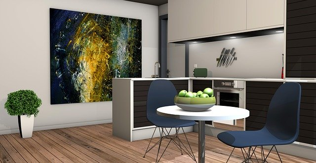 byt, kuchyň a obývací pokoj